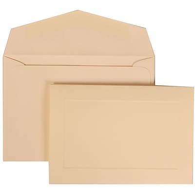 JAM Paper Wedding Invitation Set, Small, 3 3/8 x 4 3/4, Ivory Cards with Panel, Ivory Envelopes, 100/pack (309325045) 42383