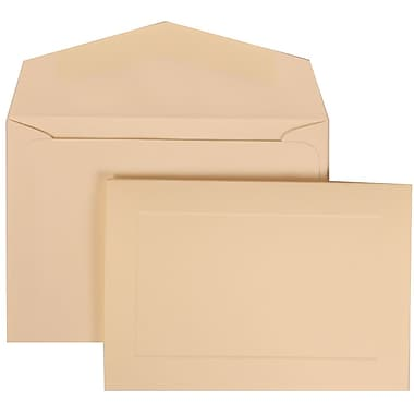 JAM Paper® Wedding Invitation Set, Small, 3 3/8 x 4 3/4, Ivory Cards with Panel, Ivory Envelopes, 100/pack (309325045)