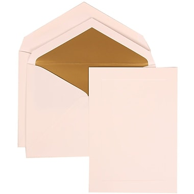 JAM Paper® Simple Border White Card With Gold Lined Envelope Wedding Invitation Set, 50/Pack