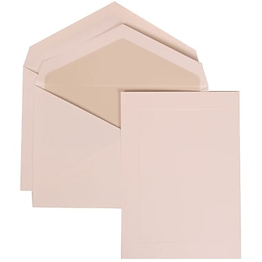 JAM Paper® White Card with Crystal Lined Envelope Medium Wedding Invitation White Simple Border Set, 50/Pack 5 1/2 x 7 3/4