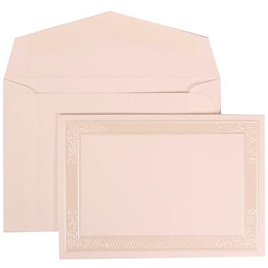 JAM Paper® Wedding Invitation Set, Small, 3 3/8 x 4 3/4, White with White Envelopes and Ivory Vine Corner, 100/pack (309925076)