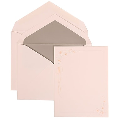 JAM Paper® Wedding Invitation Set, Large, 5.5 x 7.75 Cards, White, Orange Flower, Silver Lined Envelopes, 50/pack (310825155)