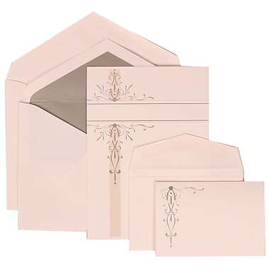JAM Paper® Wedding Invitation Combo Sets, 1 Sm 1 Lg, White with Silver Vines with Silver Lined Envelopes, 150/pack (304824672)