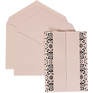 JAM Paper® Wedding Invitation Set, Large, 5.5 x 7.75, White, Black Castilian Design, Crystal Lined Envelopes, 50/pk (305724752)