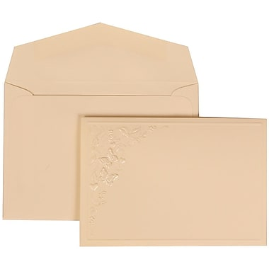 JAM Paper® Wedding Invitation Set, Small, 3 3/8 x 4 3/4, Ivory with Ivory Envelopes and Butterfly Vines, 100/pack (305825265)