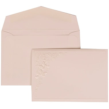 JAM Paper® Wedding Invitation Set, Small, 3 3/8 x 4 3/4, White with White Envelopes and Butterfly Vines, 100/pack (305825260)