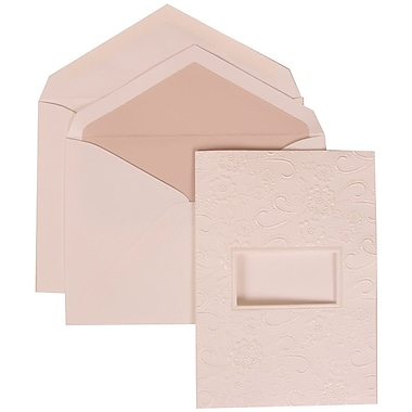 JAM Paper® Wedding Invitation Set, Large, 5.5 x 7.75, White with Pink Lined Envelopes and Embossed Window, 50/pack (306124772)