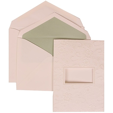 JAM Paper® Wedding Invitation Set, Large, 5.5 x 7.75, White Cards, Embossed Window, Green Lined Envelopes, 50/pack (306124778)
