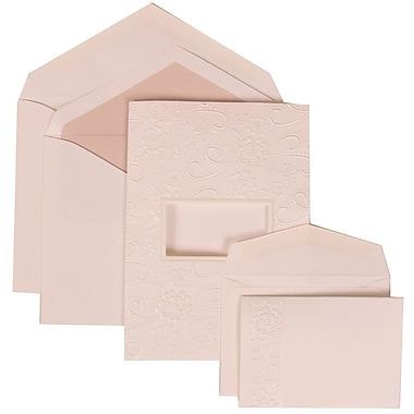 JAM Paper® Wedding Invitation Combo Sets, 1 Sm 1 Lg, White Cards, Embossed Window, Pink Lined Envelopes, 150/pack (306124773)