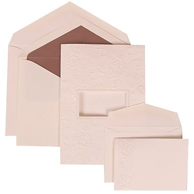 JAM Paper® Wedding Invitation Combo Sets, 1 Sm 1 Lg, White Cards, Embossed Window, Mauve Lined Envelopes, 150/pack (306124775)