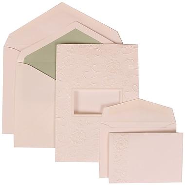 JAM Paper® Wedding Invitation Combo Sets, 1 Sm 1 Lg, White, Embossed Window, Silk Green Lined Envelopes, 150/pack (306124779)