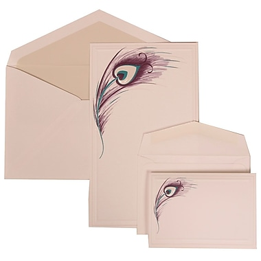JAM Paper® Wedding Invitation Combo Sets, 1 Sm 1 Lg, White Card with Peacock Feather, Crystal Lined Envelope, 150/pk (306524793)