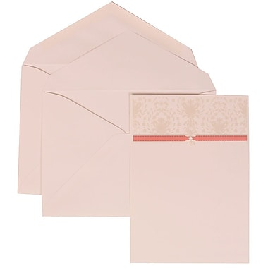 JAM Paper® Wedding Invitation Set, Large, 5.5 x 7.75, Pink with White Envelopes and Pink and Ivory Band, 50/pack (306624801)