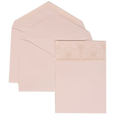 JAM Paper® Wedding Invitation Set, Large, 5.5 x 7.75, Ivory with White Envelopes and Pink and Ivory Band, 50/pack (306624799)