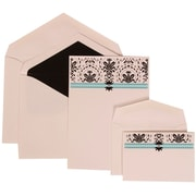 JAM Paper® Blue Card with Black Lined Envelope Wedding Invitation Blue and Pink Band Set Combo, 150/Pack