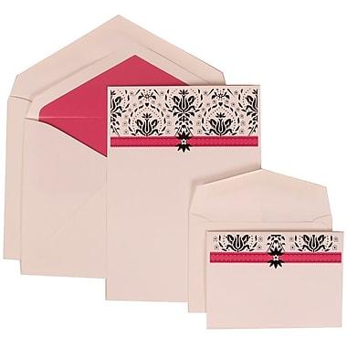 JAM Paper® Wedding Invitation Combo Sets, 1 Sm 1 Lg, Ivory Cards with Pink Band Design, Pink Lined Envelopes, 150/pk (306724815)