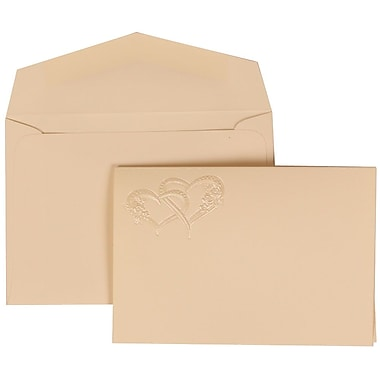 JAM Paper® Wedding Invitation Set, Small, 3 3/8 x 4 3/4, Ivory with Ivory Envelopes and Entwined Hearts, 100/pack (307124839)