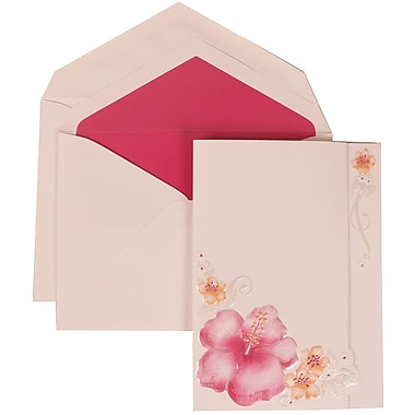 JAM Paper® Wedding Invitation Set, Large, 5.5 x 7.75, White with Pink Lined Envelopes and Pink Flower, 50/pack (307524882)