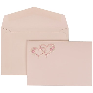 JAM Paper® Wedding Invitation Set, Small, 3 3/8 x 4 3/4, White Card, Pink Entwined Hearts, White Envelopes, 100/pack (307824903)