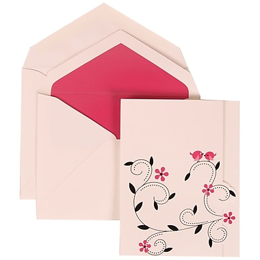 JAM Paper® Wedding Invitation Set, Large, 4 3/4 x 6 1/8, Pink Colorful Birds Card with Pink Lined Envelopes, 50/pack (308124927)