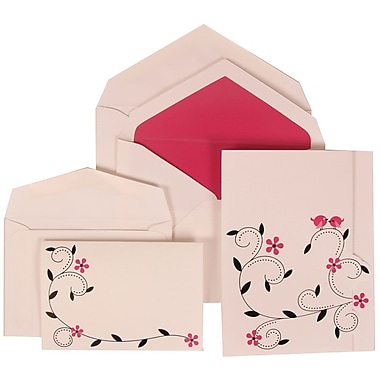 JAM Paper®  Wedding Invitation Envelope Pink Card with Pink Lined