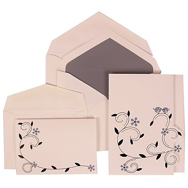 JAM Paper® Wedding Invitation Combo Sets, 1 Sm 1 Lg, White Cards with Grey Bird Design, Grey Lined Env, 150/pack (308124932)
