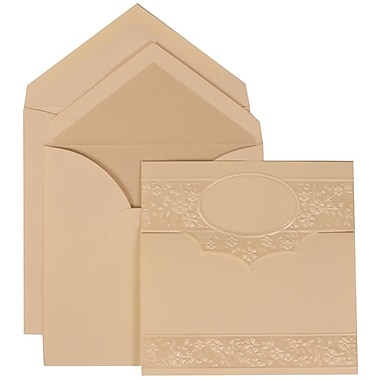 JAM Paper® Wedding Invitation Set, Large, 5.5 x 7.75, Ivory, Floral Embossed Oval, Pearl Lined Envelopes, 50/pack (308424957)
