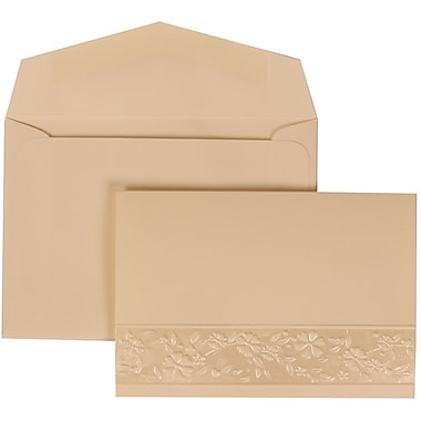 JAM Paper® Wedding Invitation Set, Small, 3 3/8 x 4 3/4, Ivory Cards, Floral Embossed Oval, Ivory Envelopes, 100/pk (308424958)
