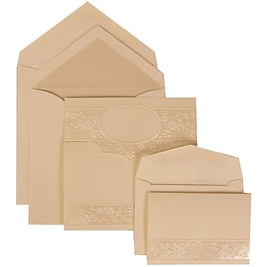 JAM Paper® Wedding Invitation Combo Sets, 1 Sm 1 Lg, Ivory, Pearl Lined Envelopes, Floral Embossed Oval, 150/pack (308424959)
