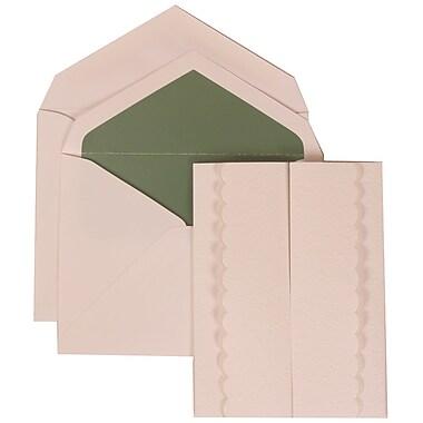JAM Paper® Wedding Invitation Set, Large, 5.5 x 7.75, White Cards, White Garden Tuxedo, Green Lined Envelopes, 50/pk (308624974)