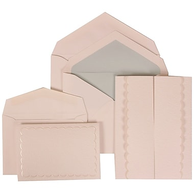 JAM Paper® Wedding Invitation Combo Sets, 1 Sm 1 Lg, White Cards, White Garden Tuxedo, Blue Lined Envelopes, 150/pk (308624973)