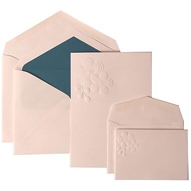 JAM Paper® Wedding Invitation Combo Sets, 1 Sm 1 Lg, White Cards, Embossed Flower, Blue Lined Envelopes, 150/pack (308924991)