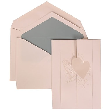 JAM Paper® Wedding Invitation Set, Large, 5.5 x 7.75 Cards, White, Ivory Hearts Fanfold, Blue Lined Envelopes, 50/pk (309024992)