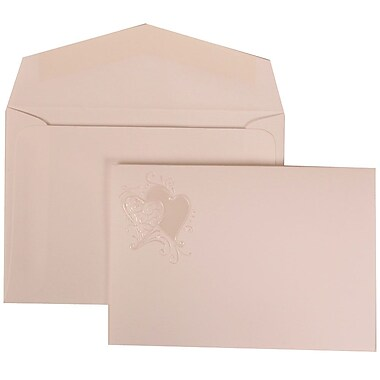 JAM Paper® Wedding Invitation Set, Small, 3 3/8 x 4 3/4, White with White Envelopes and Ivory Hearts Fanfold, 100/pack (9024993)