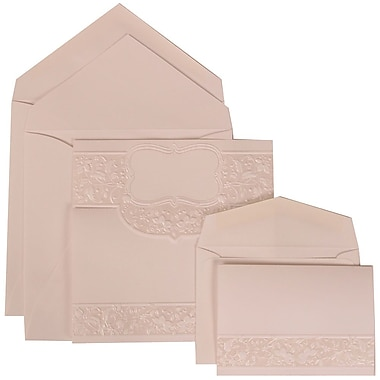 JAM Paper® Wedding Invitation Combo Sets, 1 Sm 1 Lg, White Cards with Floral Embossed Crest, White Envelopes, 150/pk (309125008)