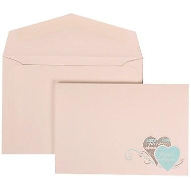 JAM Paper® Wedding Invitation Set, Small, 3 3/8 x 4 3/4, White Cards, Blue Best Friend Heart, White Envelope, 100/pk (309525062)