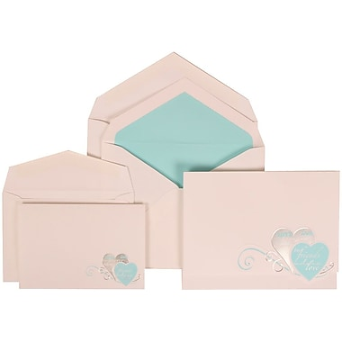 JAM Paper® Wedding Invitation Combo Sets, 1 Sm 1 Lg, White with Blue Best Friends Heart, Blue Lined Envelope, 150/pk (309525063)