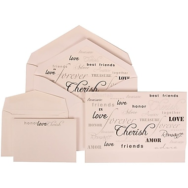 JAM Paper® Wedding Invitation Combo Sets, 1 Sm 1 Lg, White Cards, Honor Love Cherish Lined Envelopes, 150/pack (309625066)