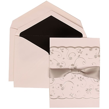 JAM Paper® Wedding Invitation Set, Large, 5.5 x 7.75, White with Black Lined Envelopes and Rose Ribbon, 50/pack (302924676)