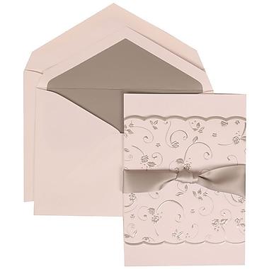 JAM Paper® Wedding Invitation Set, Large, 5.5 x 7.75, White Cards, Silver Rose Ribbon, Silver Lined Envelopes, 50/pk (302924679)