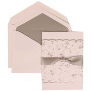 JAM Paper® White Card with Silver Lined Envelope Large Wedding Invitation Silver Rose Ribbon Set (5 1/2 x 7 3/4), 50/Pack