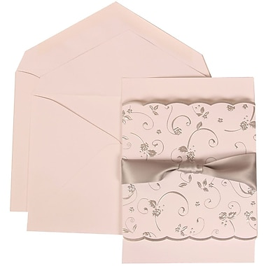 JAM Paper® Wedding Invitation Set, Large, 5.5 x 7.75, White with White Envelopes and Silver Rose Ribbon, 50/pack (302924681)