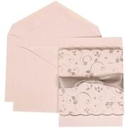 White Card with White Envelope Large Wedding Invitation Silver Rose Ribbon Set - 50 cards (5 1/2 x 7 3/4)