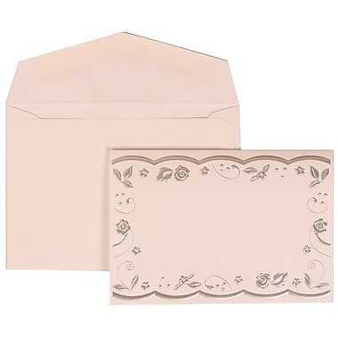JAM Paper® Wedding Invitation Set, Small, 3 3/8 x 4 3/4, White with White Envelopes and Silver Rose Ribbon, 100/pack (302924677)