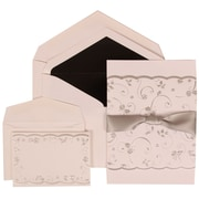 White Card with Black Lined  Envelope Wedding Invitation Silver Rose Ribbon Set Combo - 1 Large (50) & 1 Small (100)