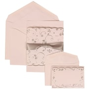 JAM Paper® Wedding Invitation Combo Sets, 1 Sm 1 Lg, White Cards, Silver Rose Ribbon, White Envelopes, 150/pack (302924682)