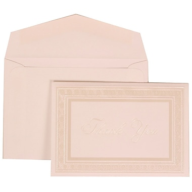 JAM Paper® Wedding Invitation Set, Small, 3 3/8 x 4 3/4, White with White Envelopes and White Border Bow, 100/pack (303125296)