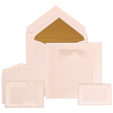 JAM Paper® Wedding Invitation Combo Sets, 1 Sm 1 Lg, White Cards, White Border, Bow, Gold Lined Envelopes, 150/pack (303125300)