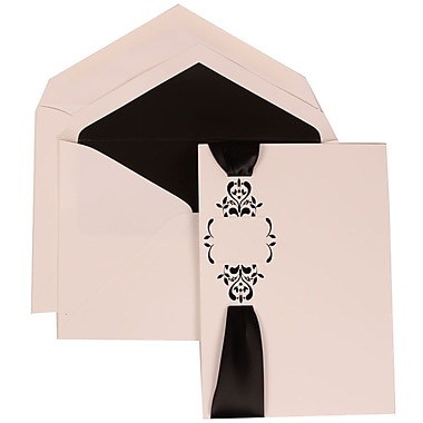 JAM Paper® Wedding Invitation Set, Large, 5.5 x 7.75, White with Black Lined Envelopes and Monogram Ribbon, 50/pack (303224686)