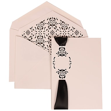 JAM Paper® Wedding Invitation Set, Large, 5.5 x 7.75, White, Monogram, Ribbon, Black Castilian Lined Envelope, 50/pk (303224689)